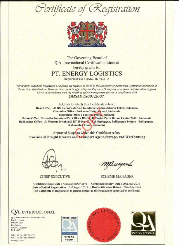 PT ENERGY LOGISTICS - MOVING AHEAD WITH YOU